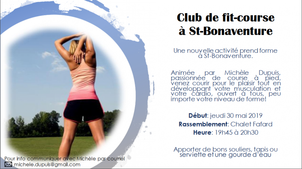 Club de fit-course à St-Bonaventure